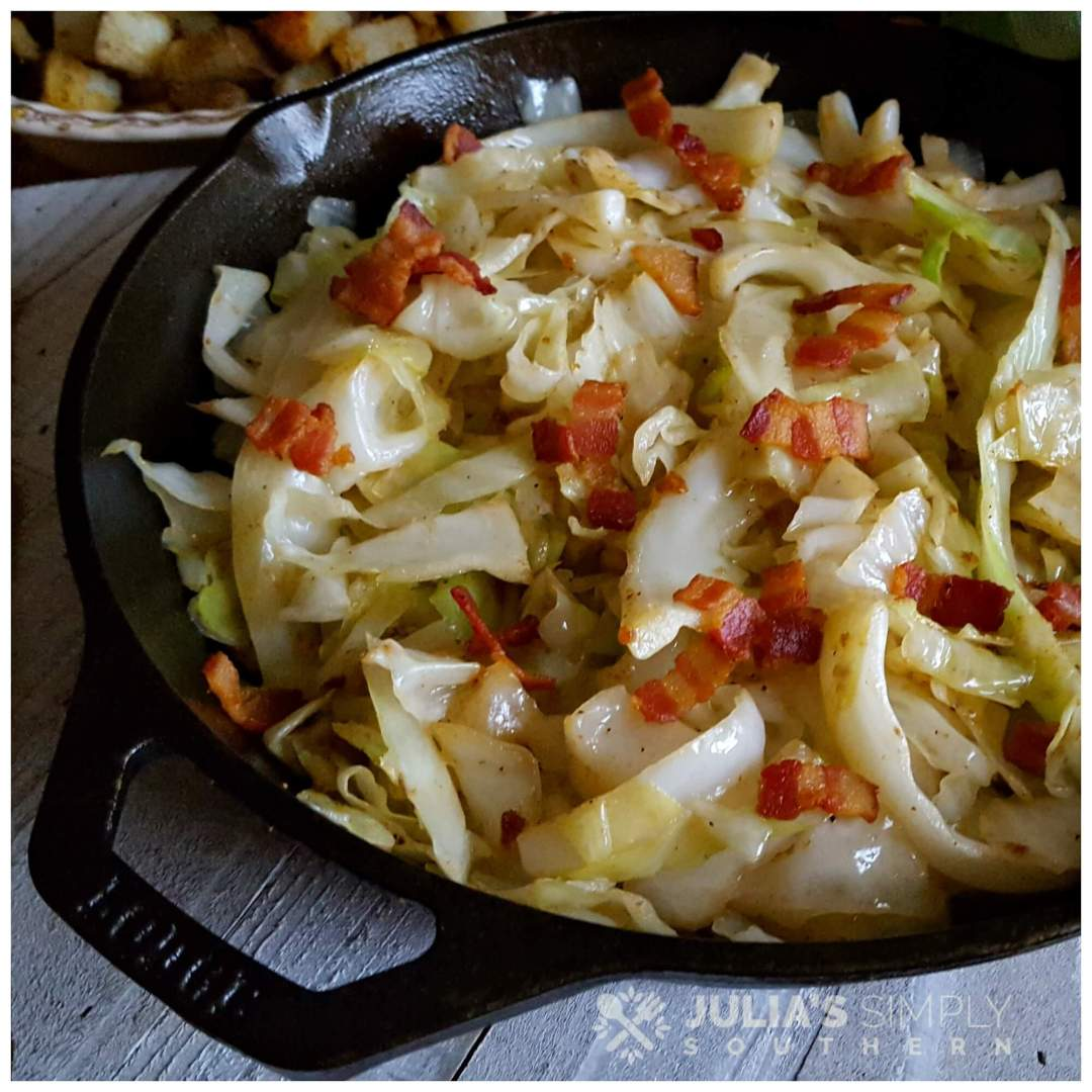 Southern fried cabbage in a cast iron skillet with bacon