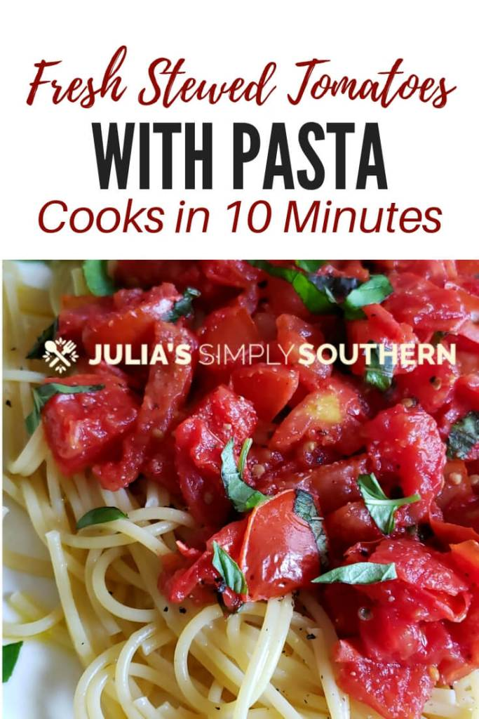 Stewed Tomatoes with Pasta is a 10 minute recipe that is perfect for busy family meals. Cooks up in just 10 minutes and is easily customized to suit your own tastes. #QuickRecipes #EasyDinnerIdeas #freshtomatoes #pasta