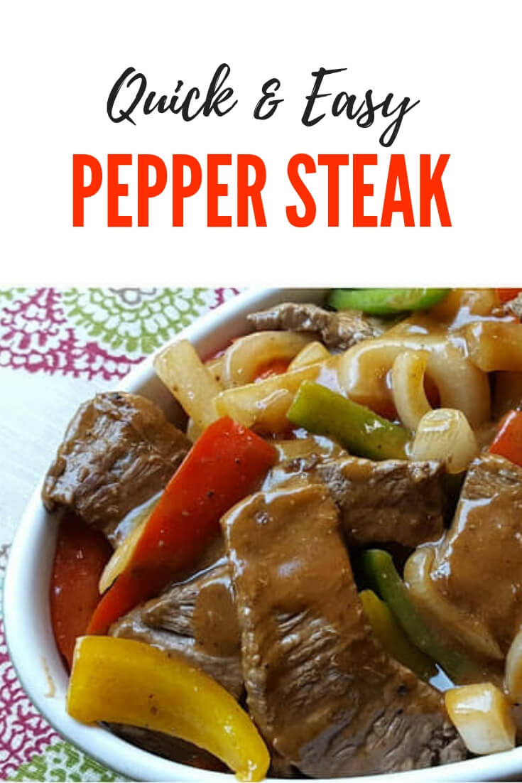 One pan Southern style Pepper Steak. This quick and easy meal is perfect when served over rice for a complete meal the entire family will love #Beef #OnePanMeal #QuickRecipe #PepperSteakAndGravy
