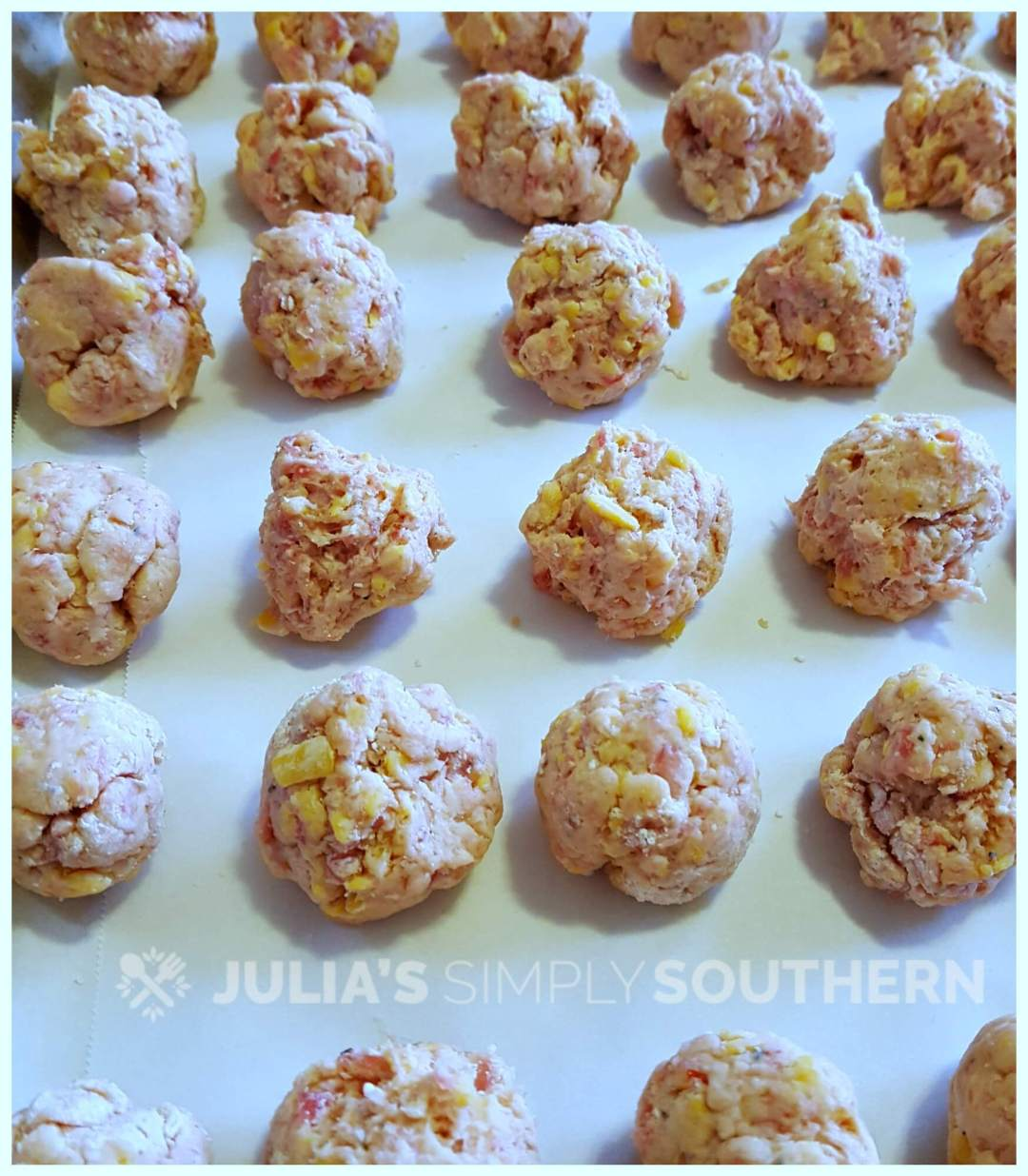 Sausage Balls Recipe - also called Hot Sausage Puffs - ready for the oven