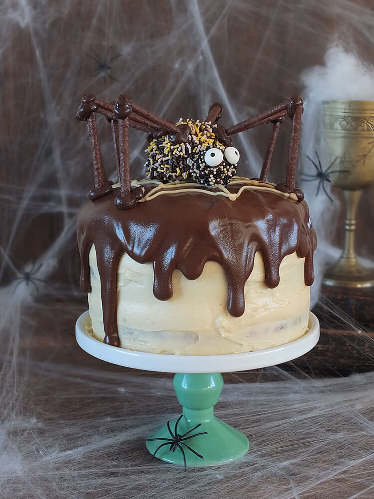 Peanut Butter Halloween Cake with a chocolate spider on top