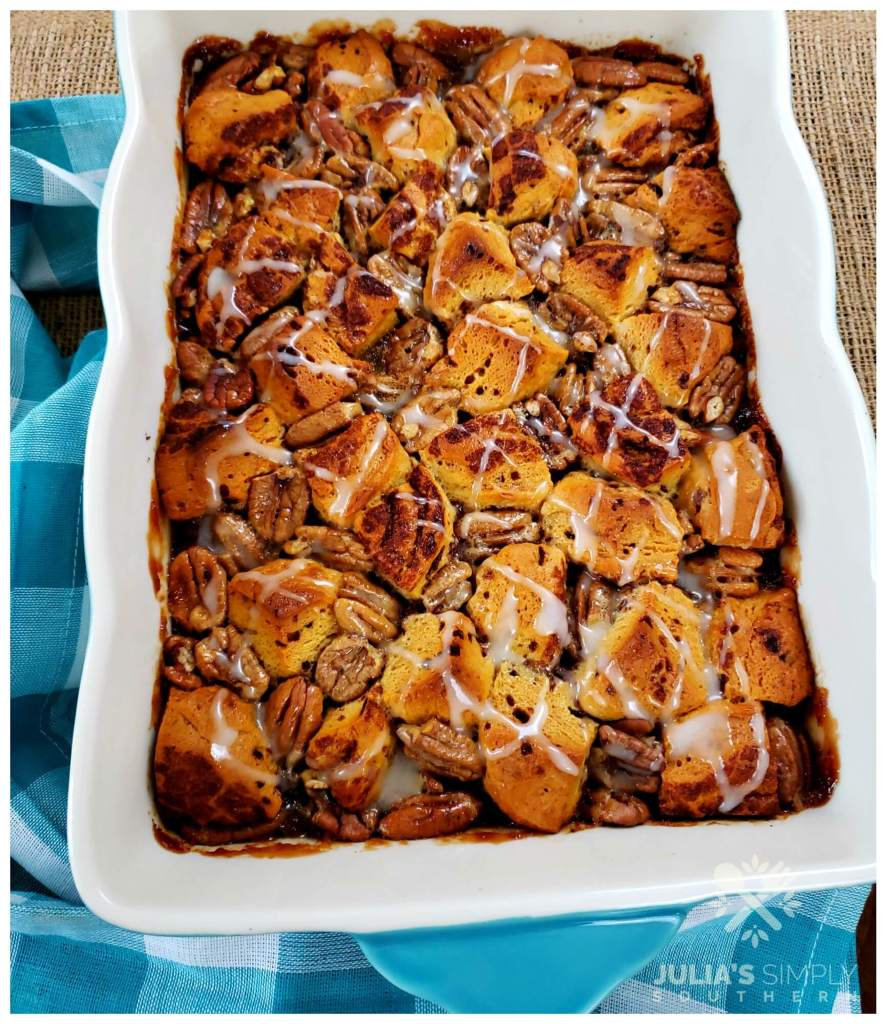 Rectangle baking dish with dessert - recipe for Pecan Pie Cinnamon Roll Bubble Up
