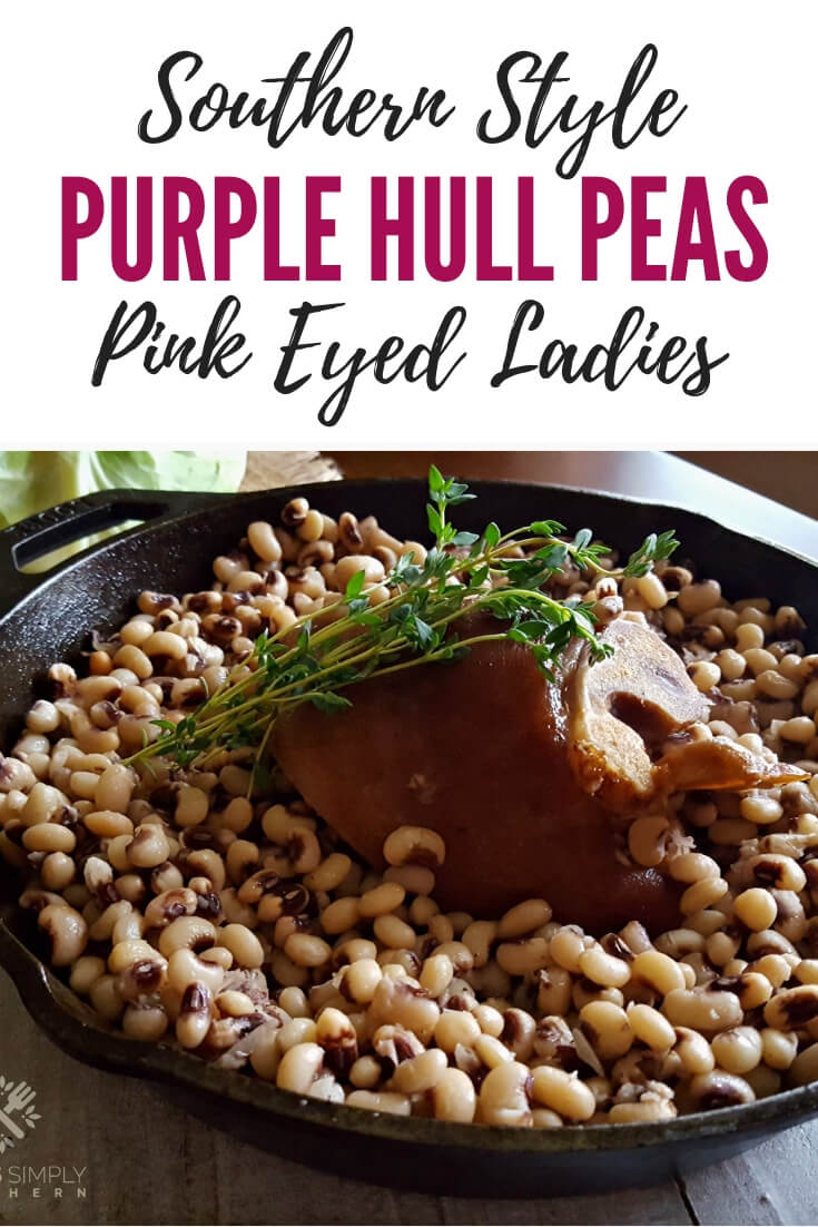 Purple Hull Peas Recipe using fresh frozen peas, cooked with a ham hock Southern style. These delicious variety of cow peas are great as a side dish or the main meal #PinkEyedPeas #PinkLadyPeas #PurpleHullPeas #CarolinaPeas #CowPeas #NewYear