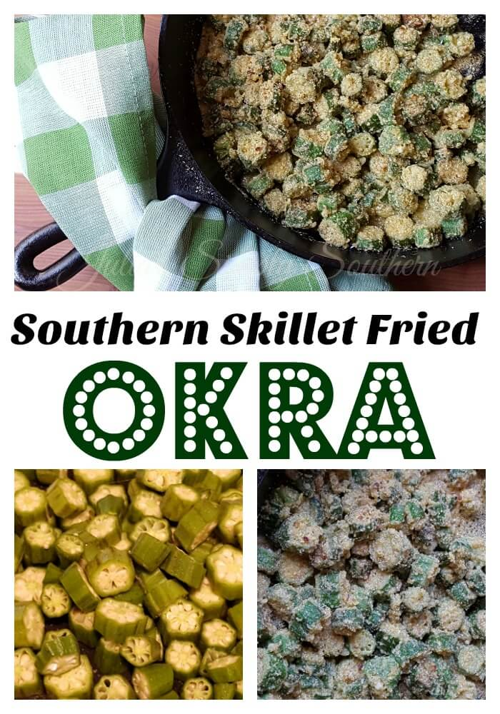 Southern cornmeal fried okra in a cast iron skillet (no slime). This is one of the South's favorite side dish recipes #vegetable #okra #CastIronSkillet