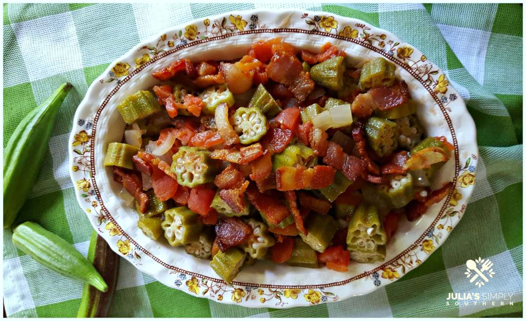 Southern okra and tomatoes - best signature side dish topped with bacon