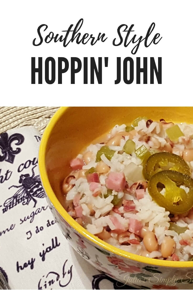 Southern Style Hoppin John, also known as Carolina Peas and Rice, is a traditional meal often served for the new year #antebellum #vintagerecipes #peas #rice #pork #SouthernFood