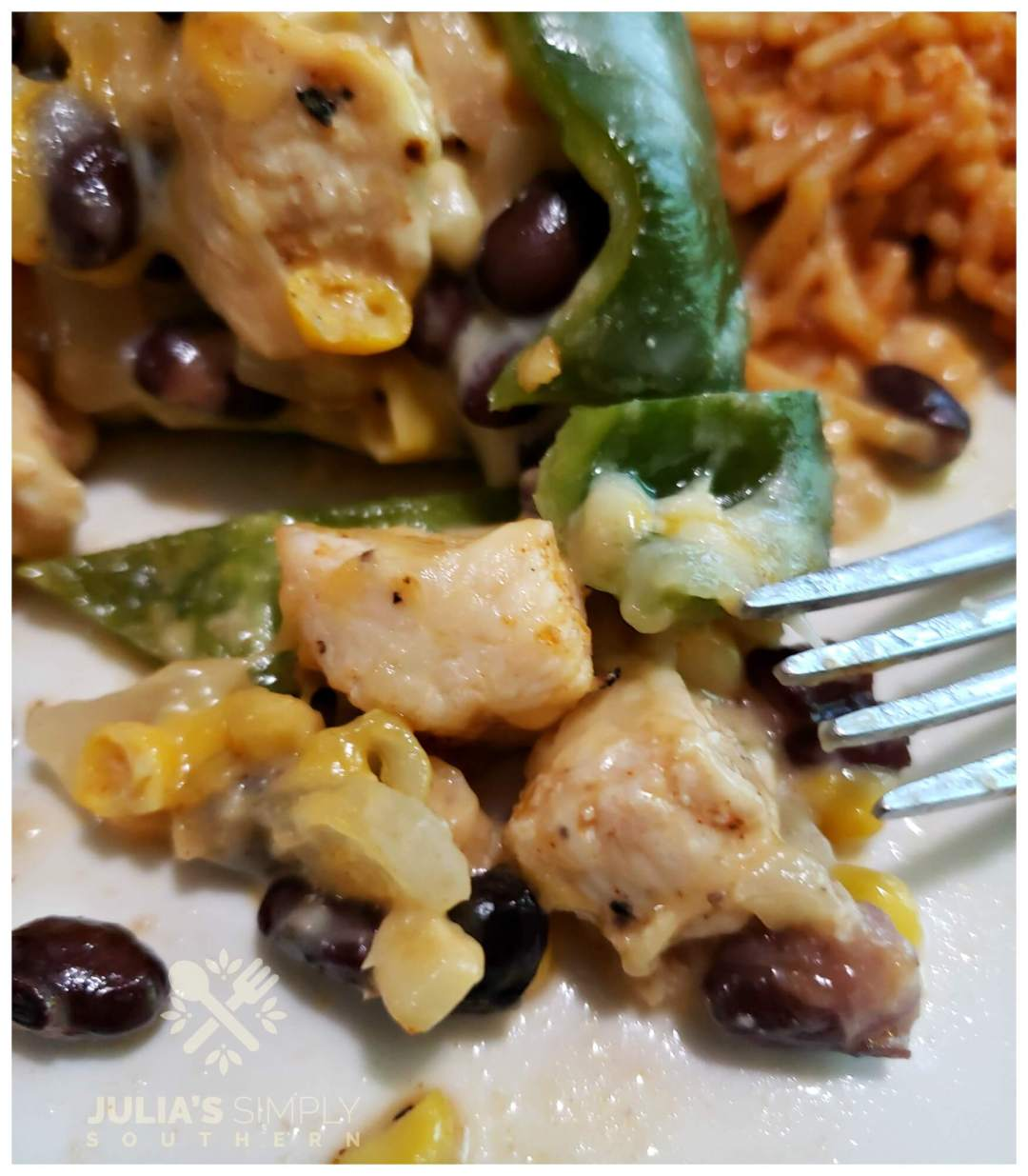 Bite of Southwest chicken stuffed poblano peppers with fresh corn and black beans with melted Mexican cheese blend.