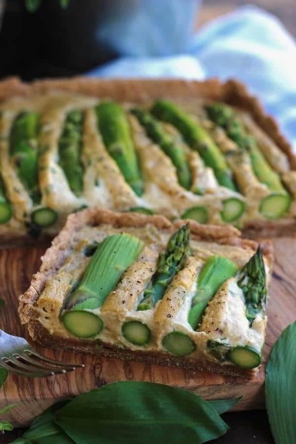 Vegan Asparagus Quiche - Healthy Brunch