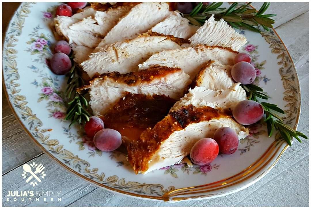 Vintage platter of holiday turkey - Best Grilled Turkey Breast - Easy
