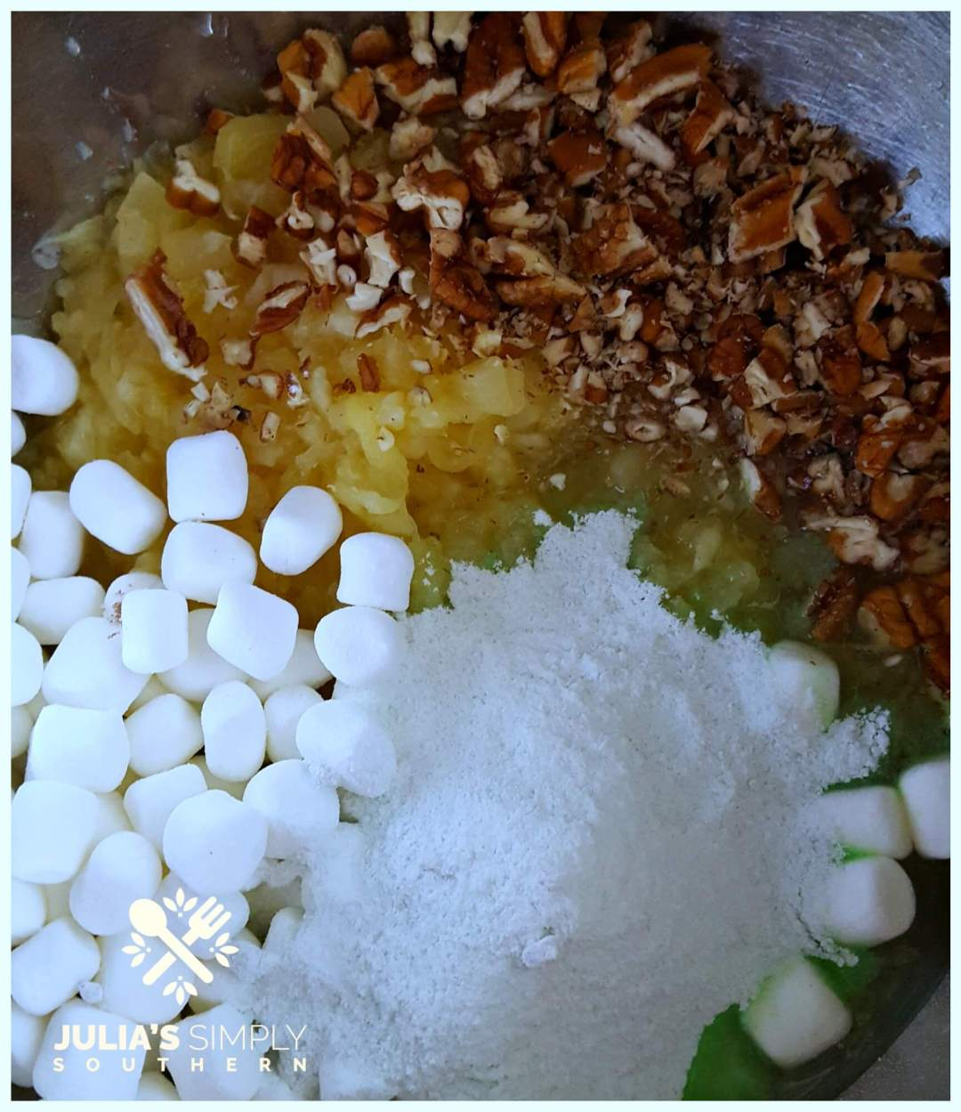 Ingredients and instructions how to make Watergate salad