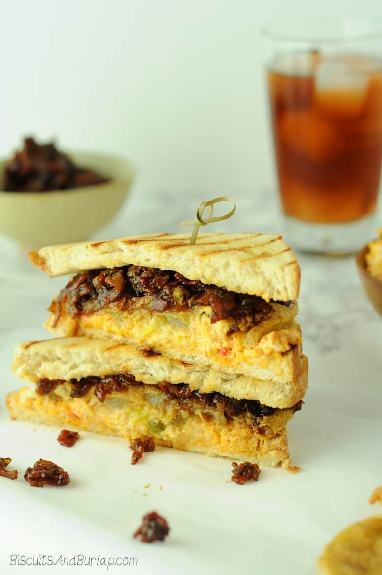 Fried Green Tomato sandwich with pimento cheese and bacon jam