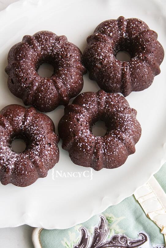 Mini Brownie Bundts on a white plate
