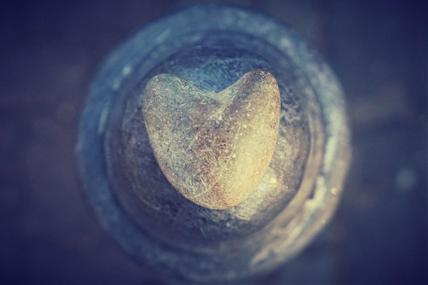heart center made of rock