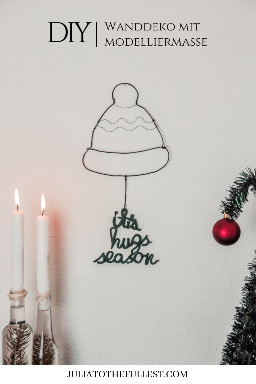 DIY Wandbild aus Draht und Modelliermasse Weihnachtliches Drahtbild basteln ideen (1)