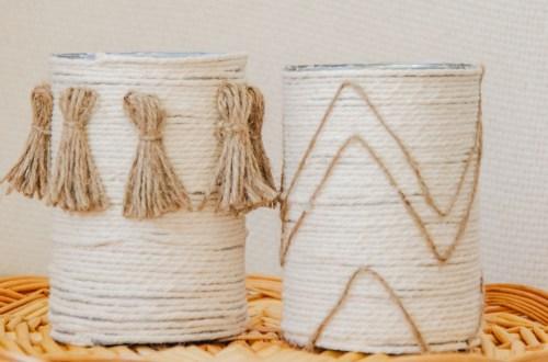 DIY Dosen upcycling - Basteln mit Konservendosen und Blechdosen - eine moderne, nachhaltige Aufbewahrung im natürlichen Look mit Quasten basteln. Bohemian deko