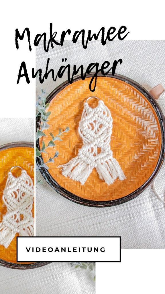 DIY Makramee Schlüsselanhänger aus weißem Baumwollgarn selbstgemacht mit Muster