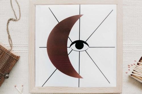 Mond und Auge Wandbild zum Ausdrucken - kostenlose wanddeko zum ausdrucken - mond freebie - mond free printable moon and eye wall art