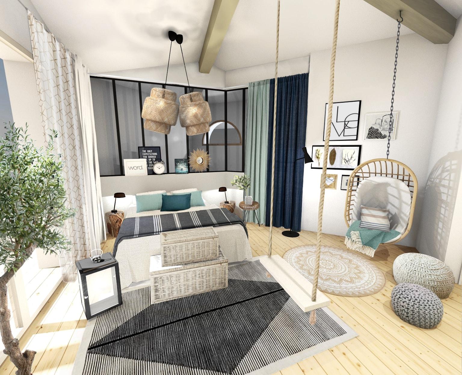 une belle chambre l 39 esprit bord de mer chic. Black Bedroom Furniture Sets. Home Design Ideas
