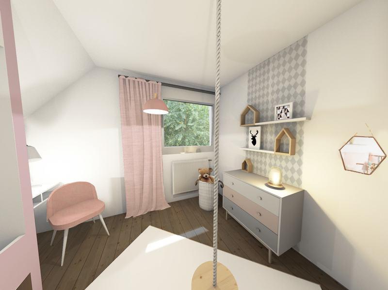 Une chambre d'enfant rose poudré scandinave