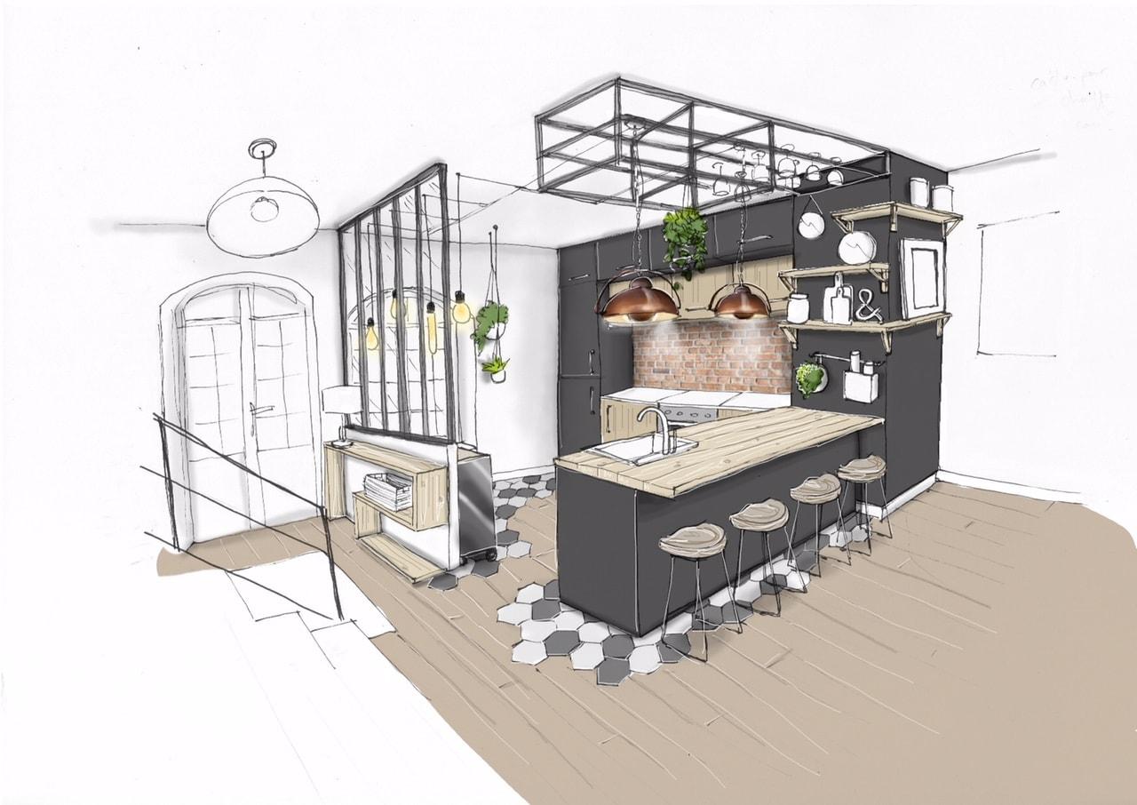 conseil déco - le charme d'une cuisine ouverte - industriel