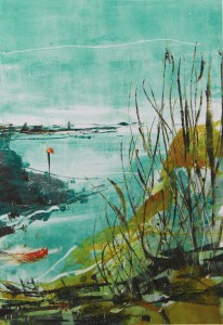 Nore Barn Woods 2 monoprint Julie Turner