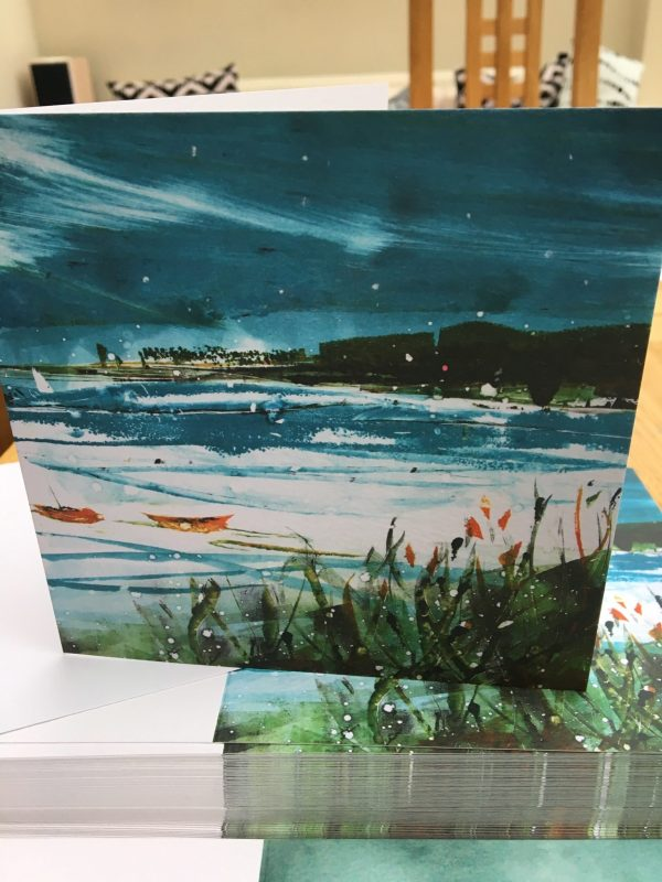Snow on the harbour greeting card