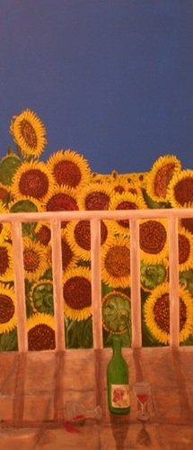 Joy (field of sunflowers)  how lovely would it be to sit on the patio and sip wine?