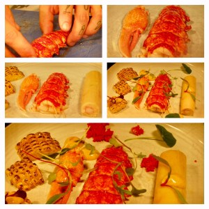 plating the lobster dish, beautiful