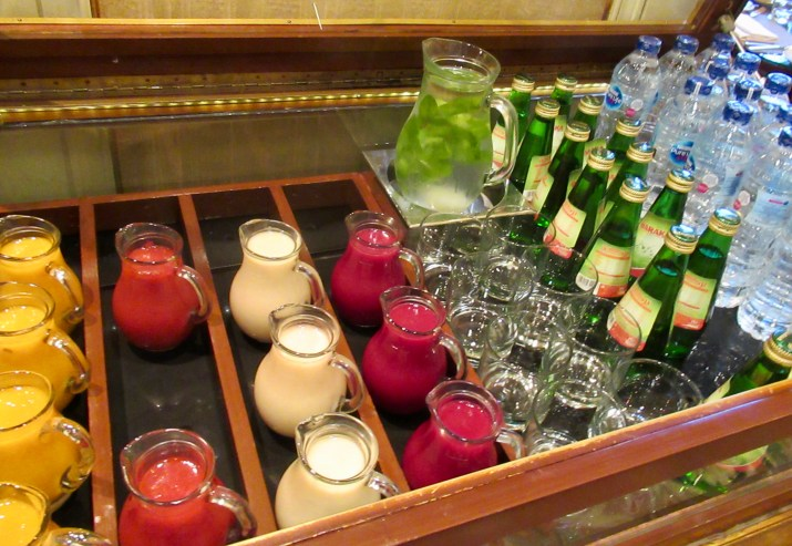 fresh squeezed juices at the fabulous breakfast