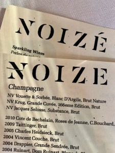 the wine list at Noize