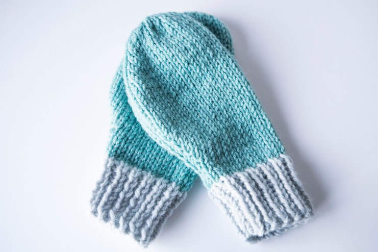 Knitted mint mittens