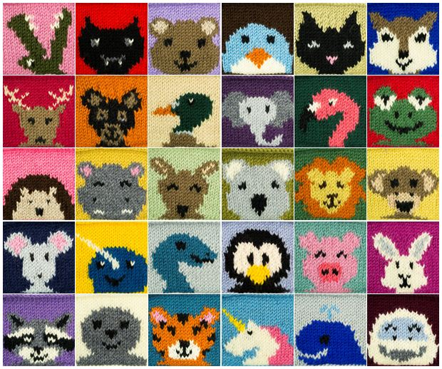 30 Knitted Animal Squares