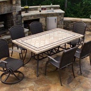 "Tortuga Marquesas 7 Piece Dining Set 4 chairs, 2 swivel rockers, 70"" stone table MQS-7PC-SWV"