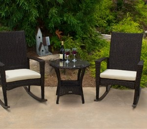 TO-112-2T Tortuga Bayview 3 Piece Rocking Chair Set 2 rockers, 1 side table 1