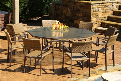 Tortuga Maracay 9-Piece Dining Set extra large octagonal dining table, 8 chairs MARD-009