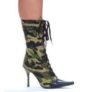457-Camo camouflage ankle boot with 4.5 inch heel Ellie Shoes