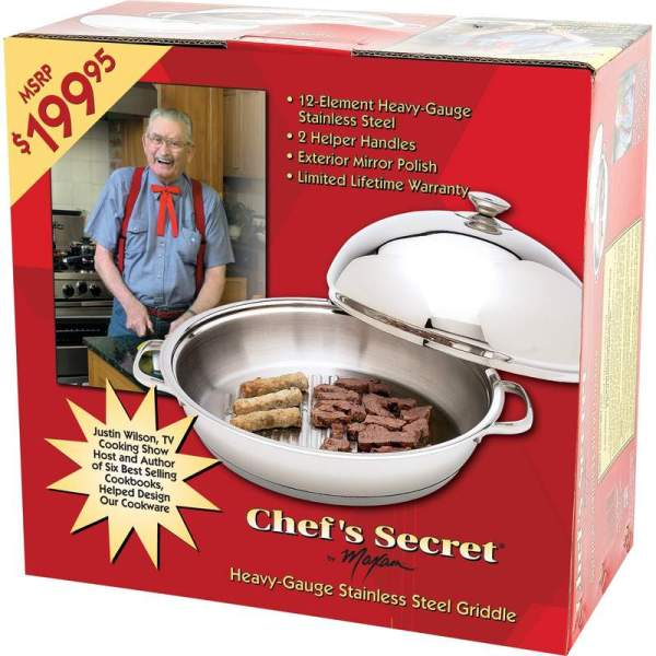 Chef's Secret® by Maxam® 12-Element High-Quality, Heavy-Gauge Stainless Steel Round Griddle KTGRID2D