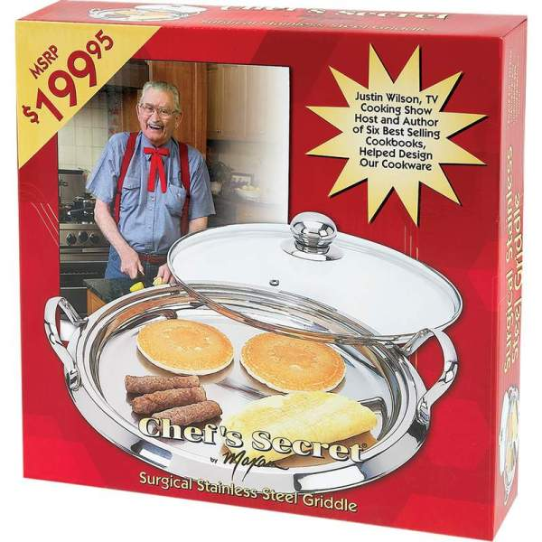 Chef's Secret® by Maxam® 12-Element High-Quality Stainless Steel Round Griddle with See-Thru Glass Cover KTGRID2