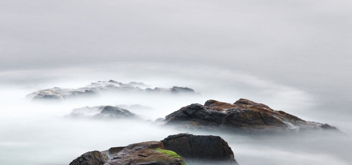 foggy rocks scene