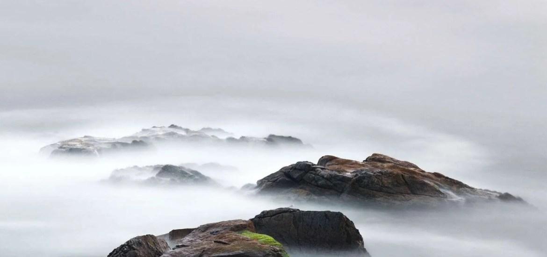 foggy rocks scene