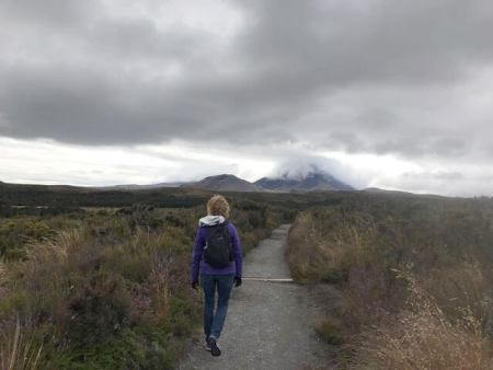 Julie on a volcano trail