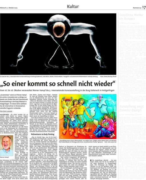 Bericht des Böblinger Boten, Ausgabe 7. Oktober 2015, www.bb-live.de