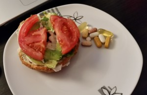 My 10 pm bagel and vitamins.