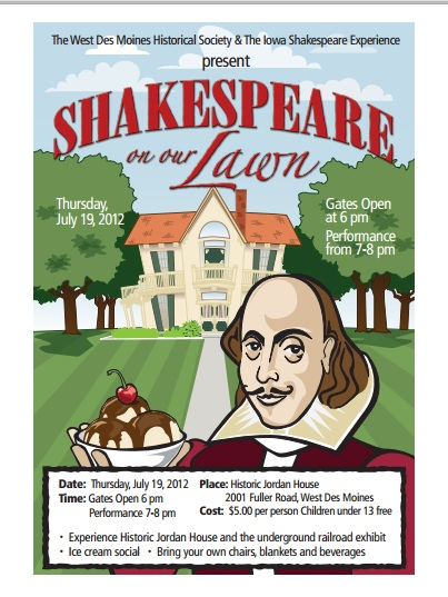 shakespeare on the lawn, west des moines, historical society, july 2012, summer, family