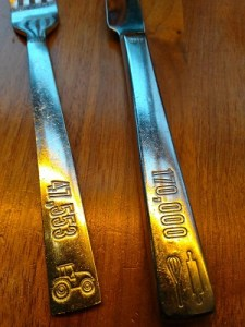 silverware handles are stamped at Founding Farmers restaurant