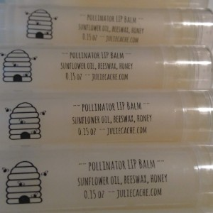 pollinator lip balm tubes with labels