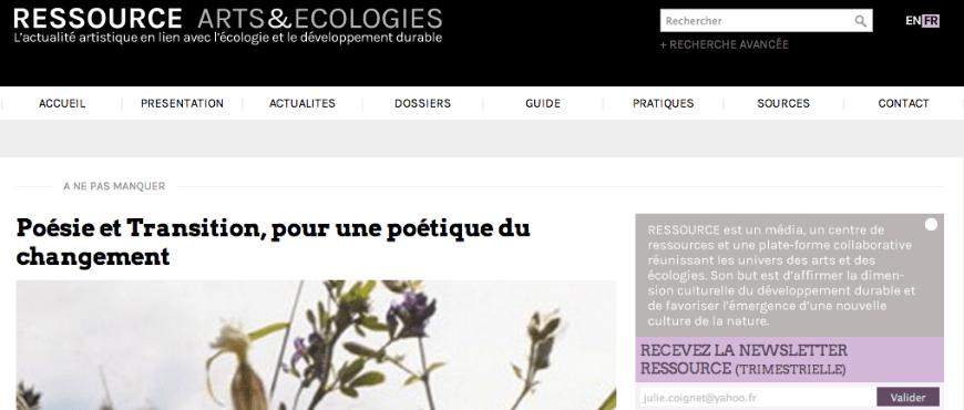 Ressource Art et Ecologie