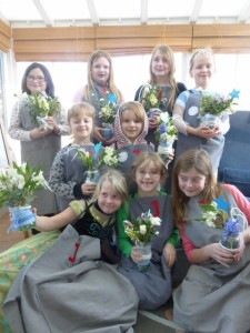 Frozen themed flower arranging party
