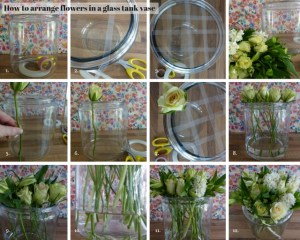 How to arrange flowers in a glass tank vase
