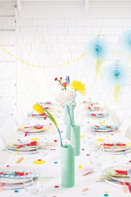 washi wrapped flower stems from Decorate for a Party